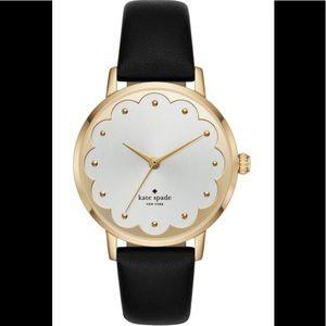 Kate Spade ♠️ metro strap scallop watch black/gold